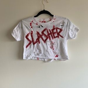 Custom distressed bloody Halloween crop top